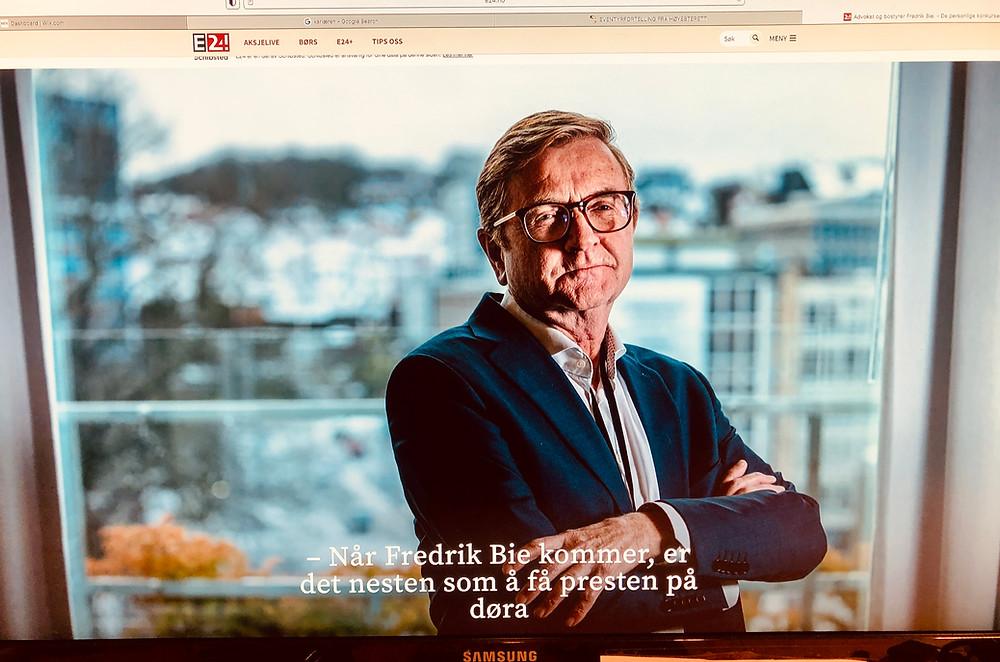 Fredrik Bie i en artikkelserie fra E24 / Aftenbladet, der jeg også fikk en side.