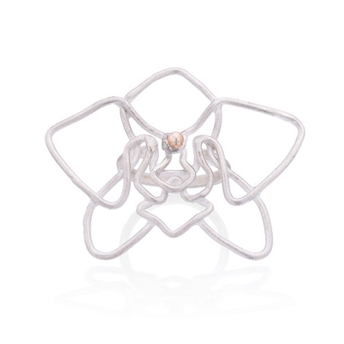 Silver and Gold Orchid Ring