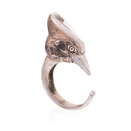 Silver Woodpecker Ring