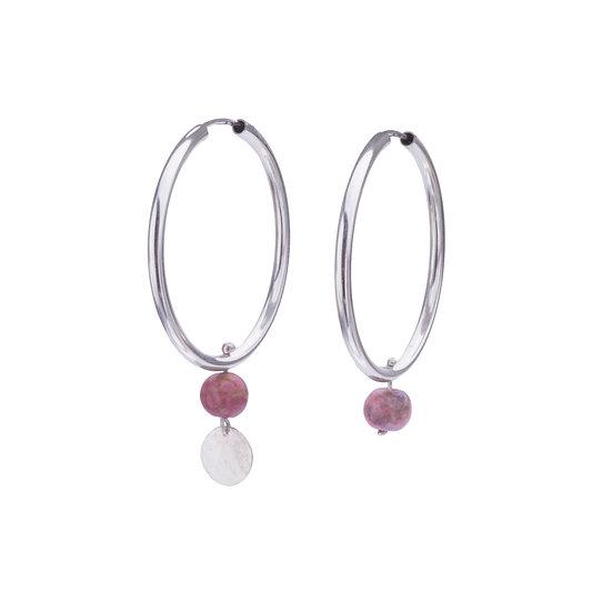 Hoop Earrings with Pink Agate