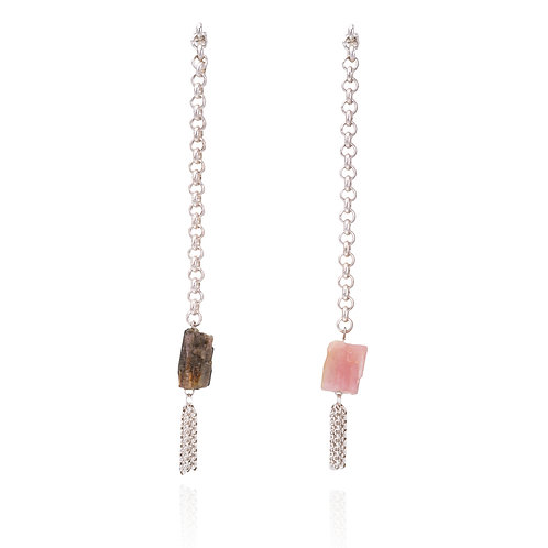 Silver Dancing Earrings w/ Rough Tourmaline