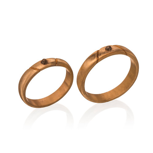 14k Gold with Black Golden Ball Wedding Bands