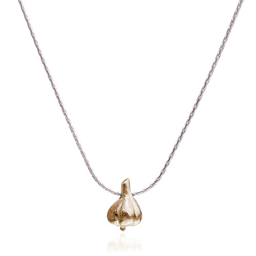 14k Gold Garlic on Silver Necklace