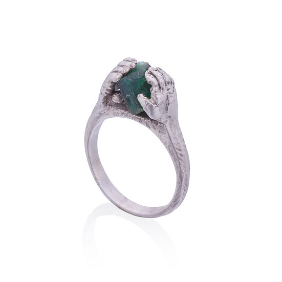 Contact Ring with Raw Emerald