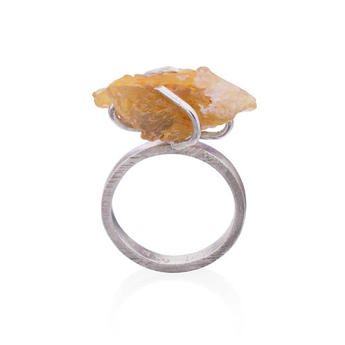 Rough Yellow Opal Ring