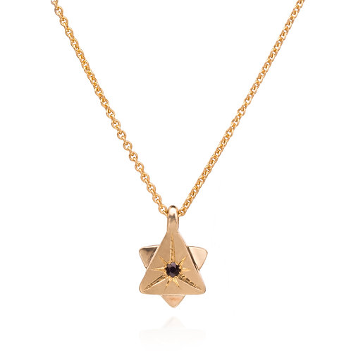14k Gold David Has A Star Necklace w/ Sapphire