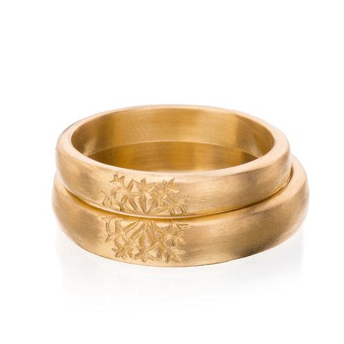 14k Gold Snow Flake Ring Set