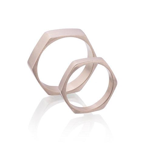 14k White Gold Pentagon Wedding Rings