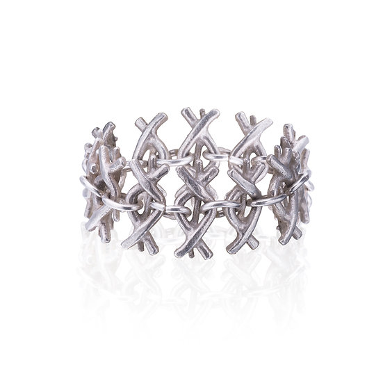 Silver Evil Eyes Chain Ring