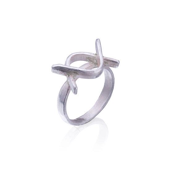 Silver Evil Eye Symbol Ring