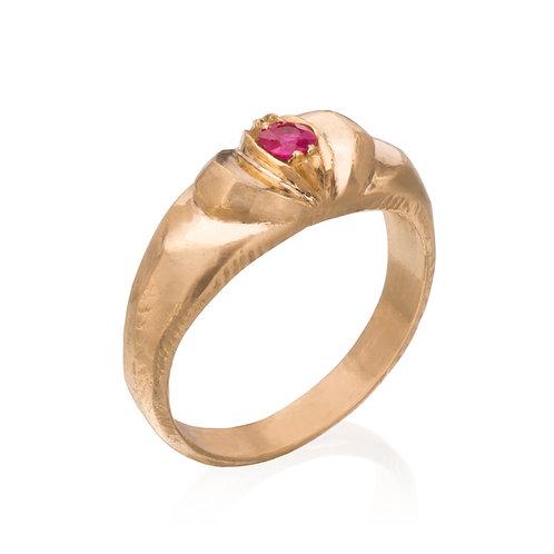 Gold Super Hero Ring w/Ruby