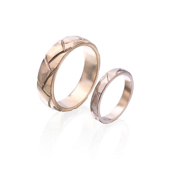 Rough Facet Wedding rings