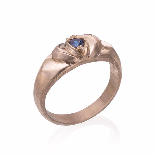 14k White Gold Super Hero Ring w/ Sapphire
