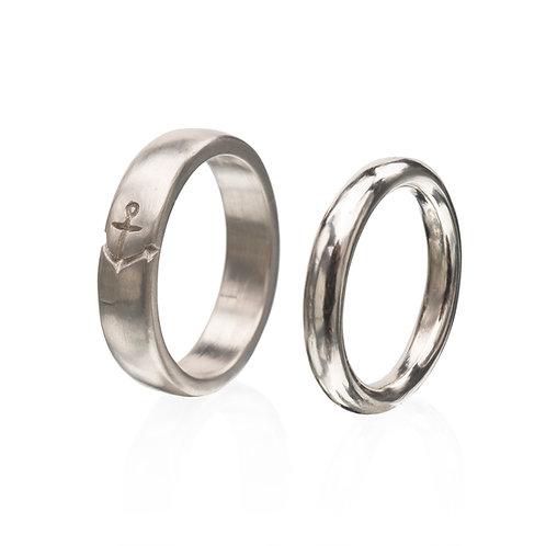 14k White Gold Captain's Love Ring set