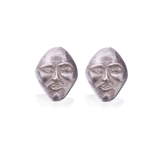Silver Face Earrings