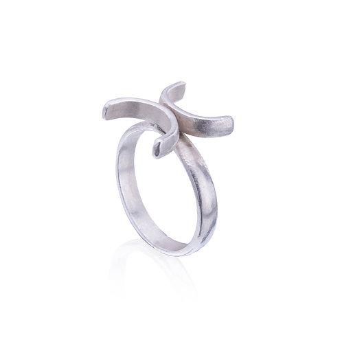 Silver Time Symbol Ring