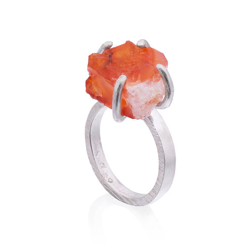 Rough Carnelian Ring