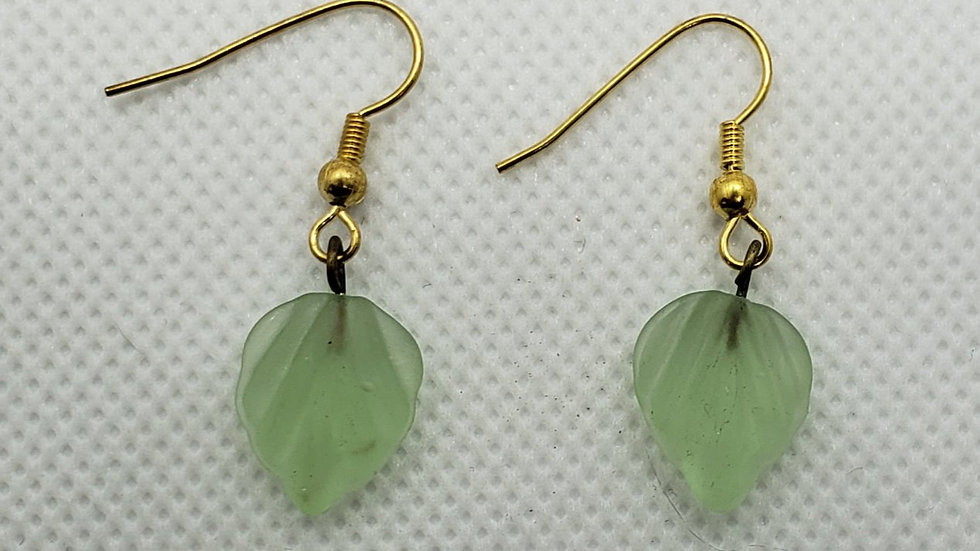 Small Light Green Leaf Earrings