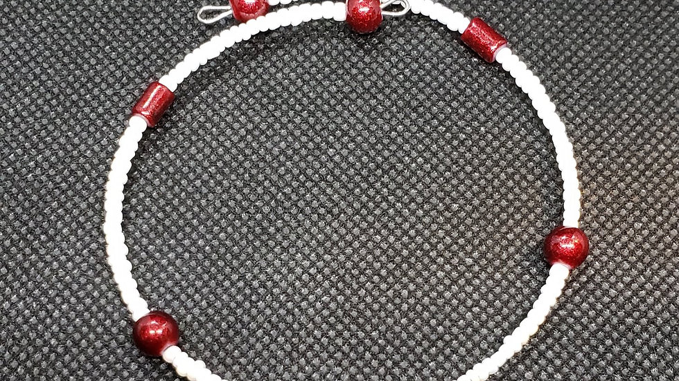 Red/White Memory Wire Bracelet