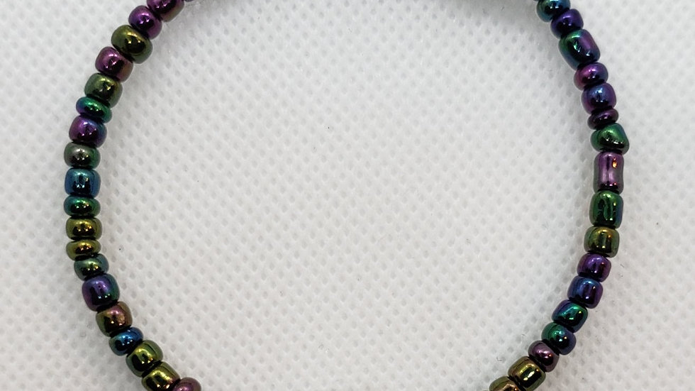Iridescent Purple/Green Mesh Memory Wire Bracelet