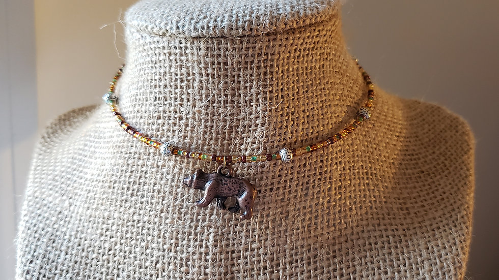 Copper Bear Memory Wire Necklace