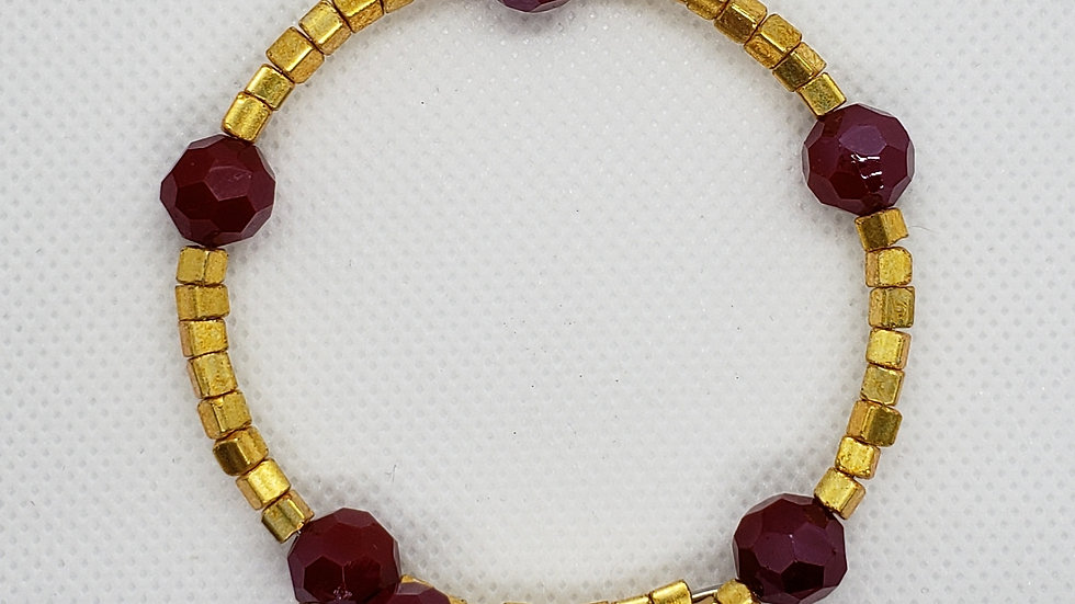Red/Gold Memory Wire Bracelet
