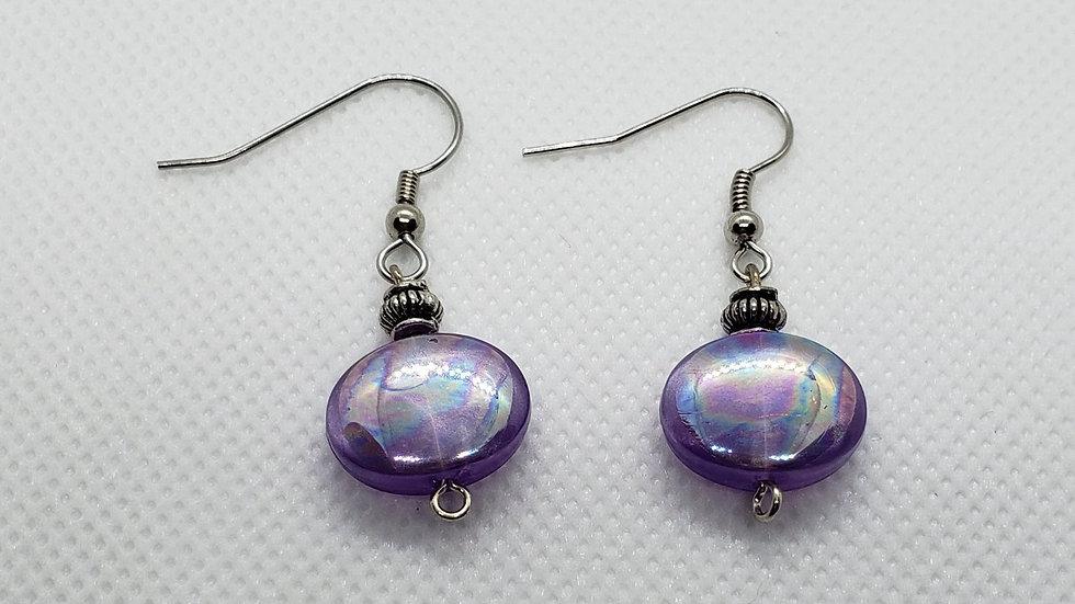 Purple Iridescent Earrings w/ Fancy Round Silver Bead