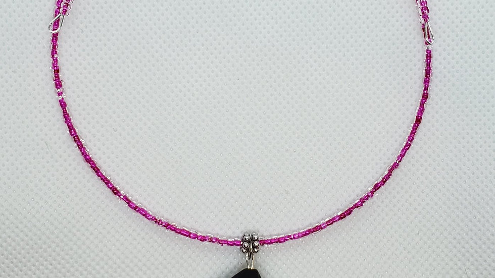 Pink and Black Memory Wire Necklace