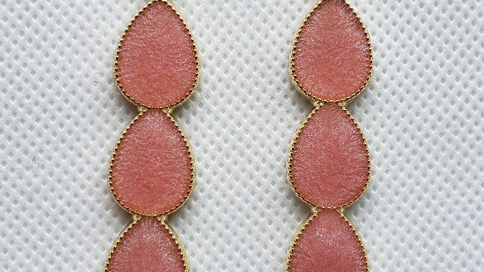 Pink and Gold Long Earrings