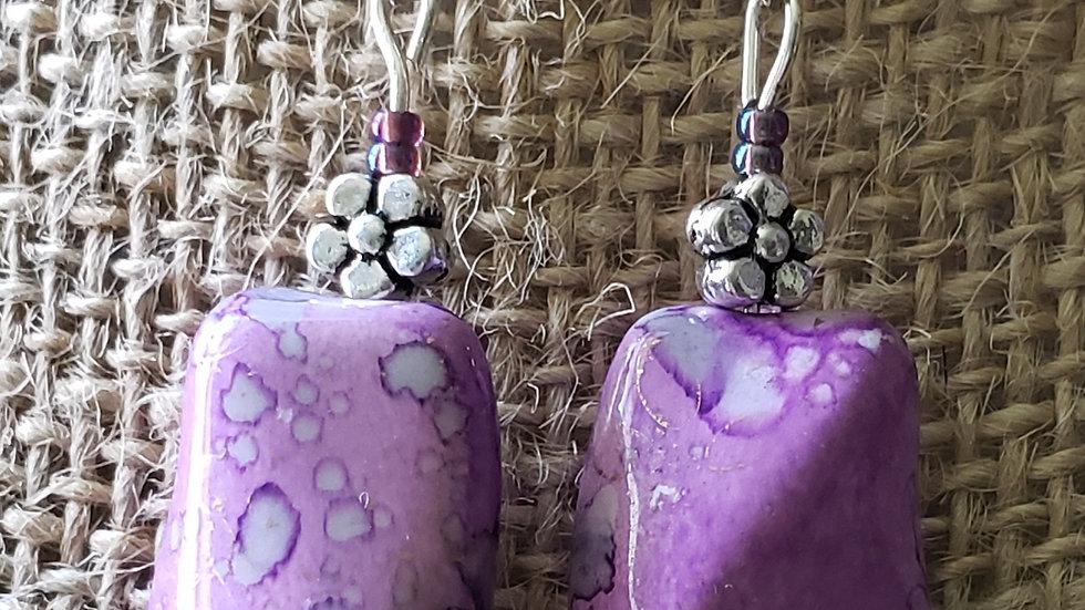 Purple Watermark Earrings