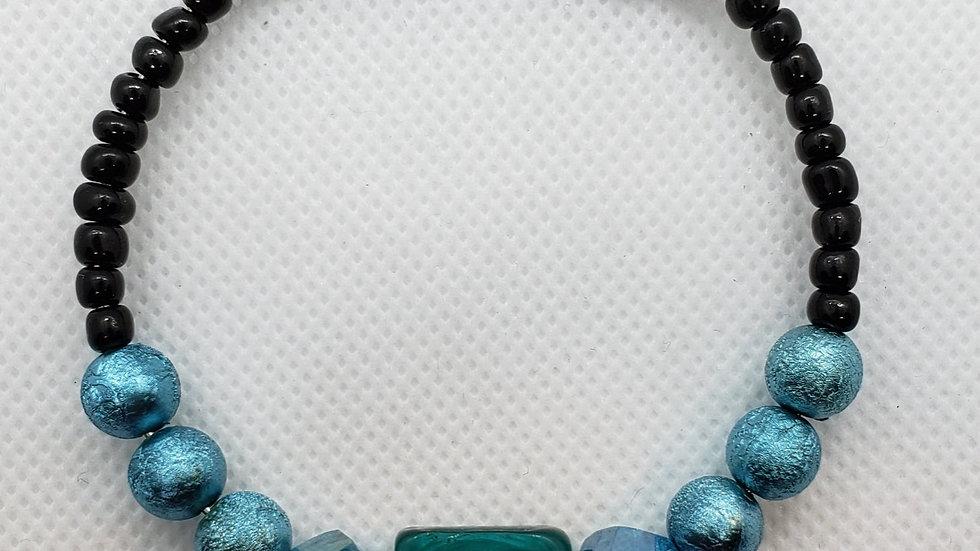 Teal/Aqua/Black Memory Wire Bracelet