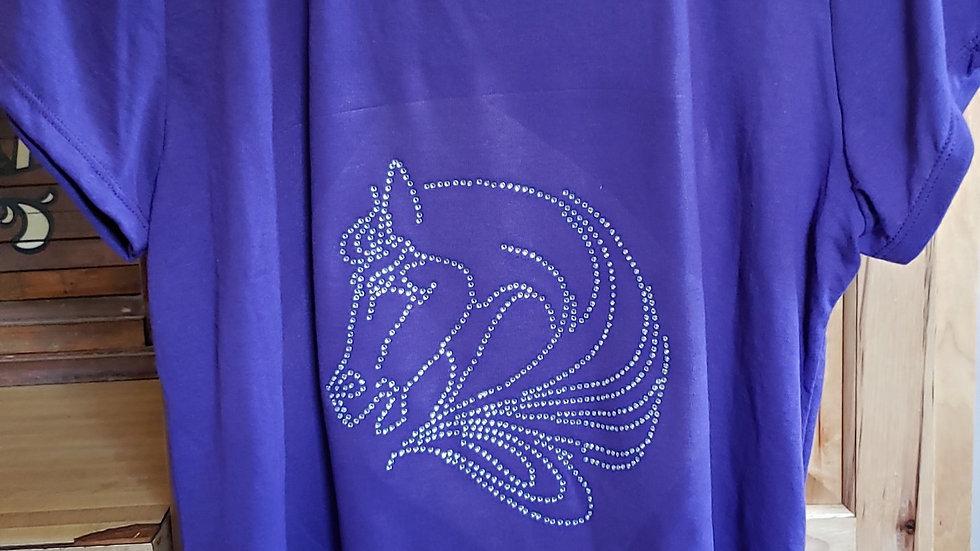 Rhinestone Horse Head T-Shirt