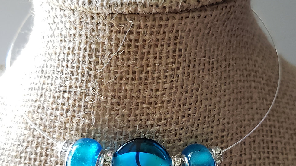 Blue Memory Wire Necklace