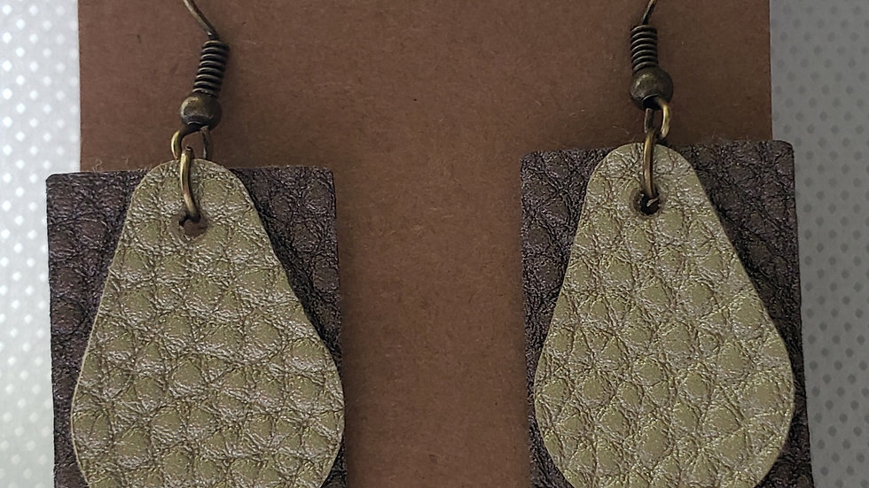 Faux Leather Brown/Bronze and Sage Earrings