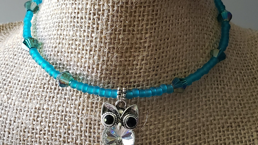 Owl Memory Wire Necklace Version 3
