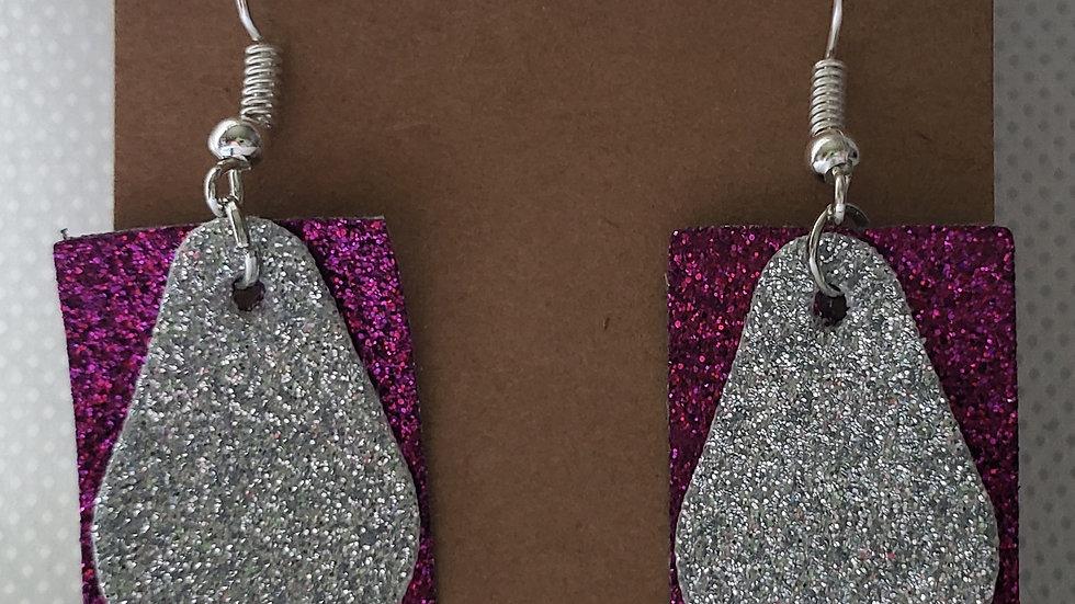 Faux Leather Fuschia and Silver Glitter Earrings