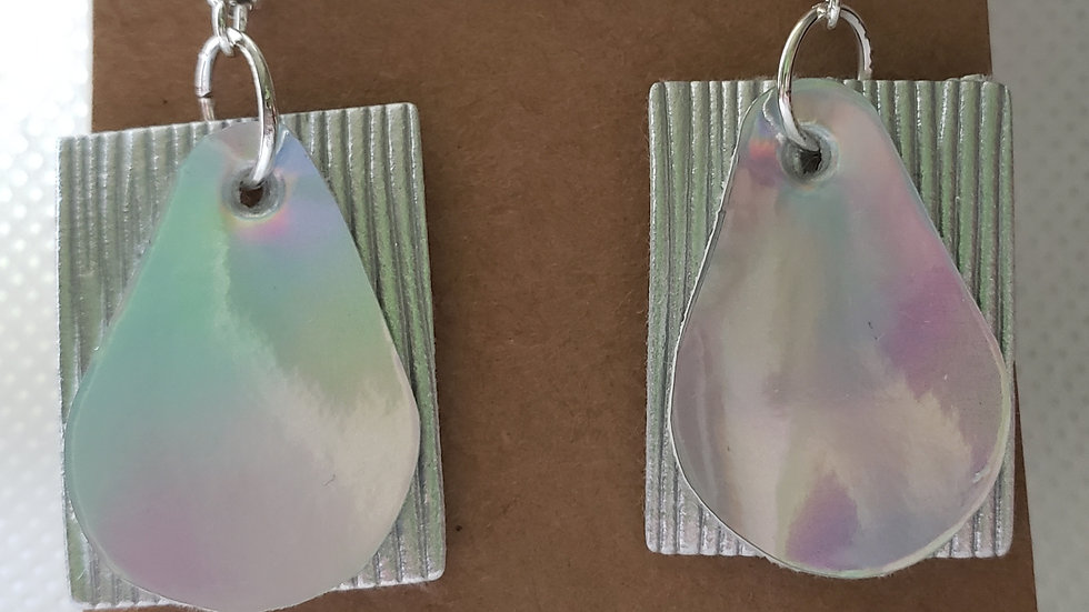 Faux Lether Silver and Mirror Earrings