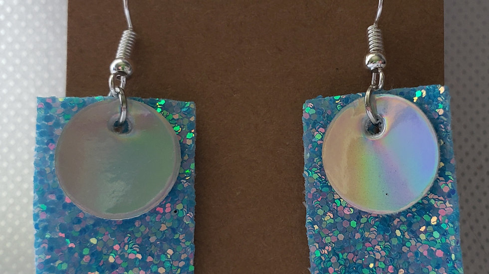 Faux Leather Blue Glitter and Mirror Earrings