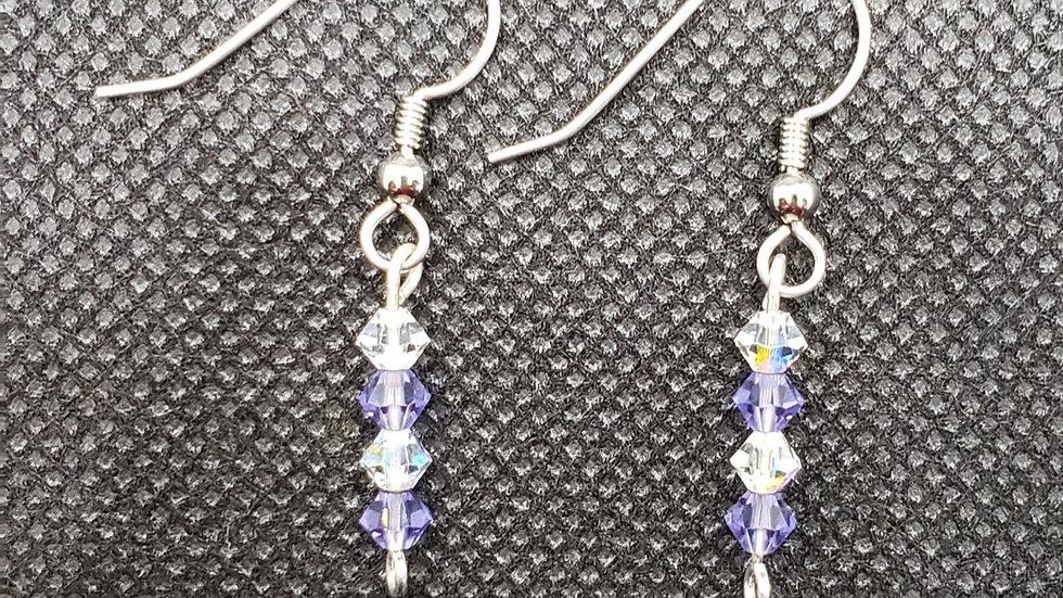 Purple/Clear Earrings