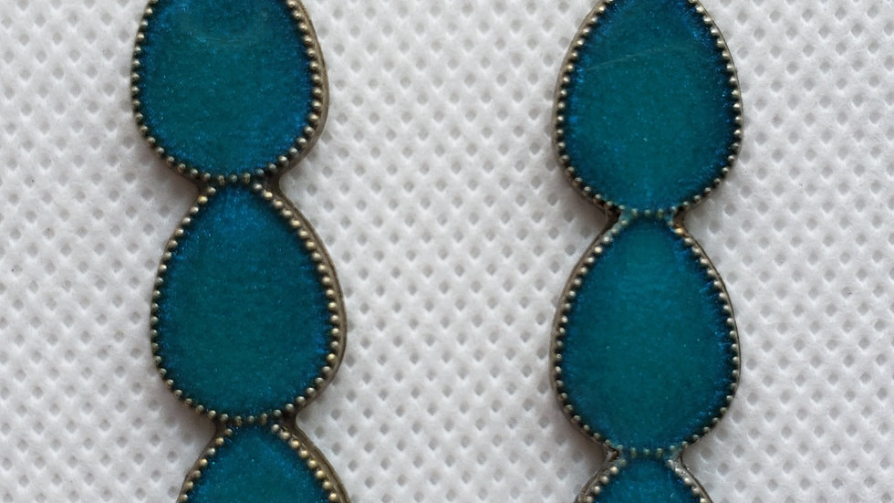 Teal and Bronze Long Earrings