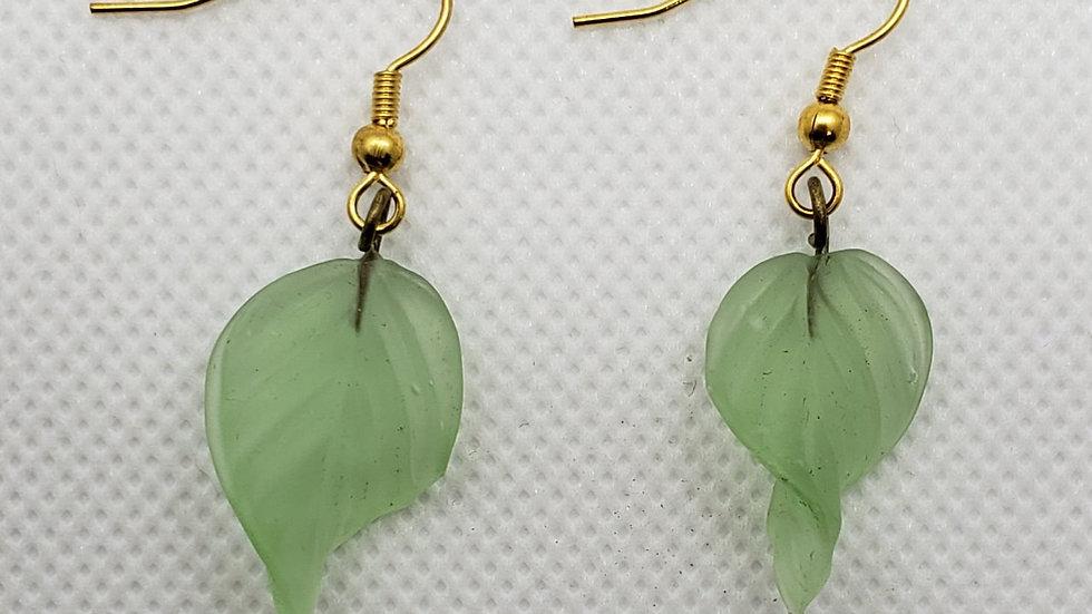 Light Green Leaf Earrings