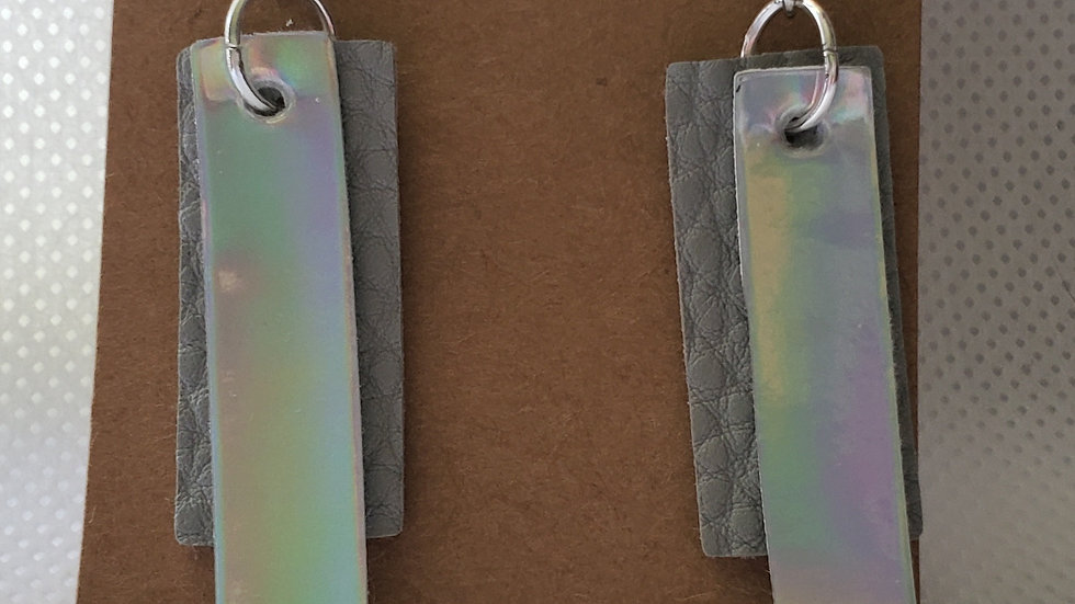 Faux Leather Grey and Mirror Rectangle Earrings