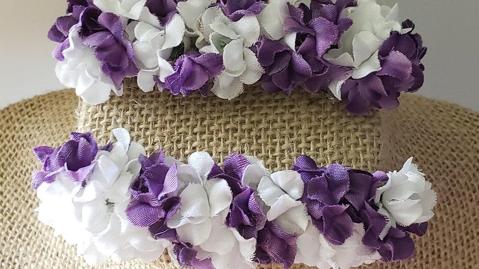 Purple and White Barrettes