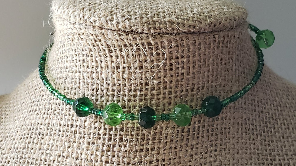 Green Memory Wire Necklace