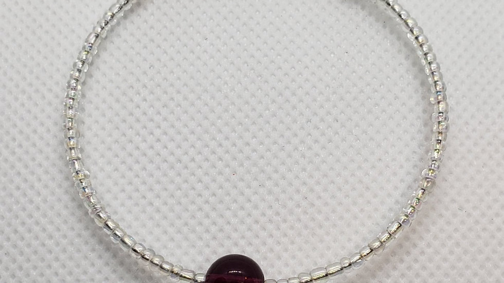 Iridescent White and Purple Memory Wire Bracelet