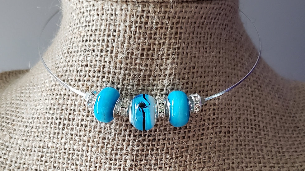 Blue Flat Memory Wire Necklace
