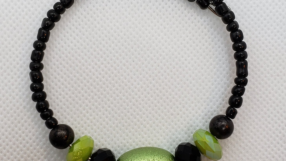 Lime Green and Black Memory Wire Bracelet