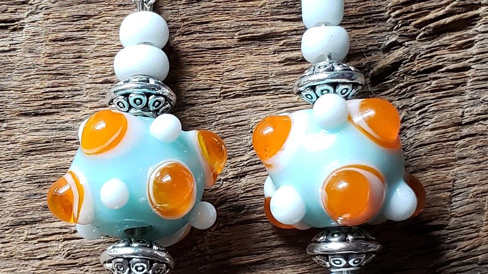Light Blue/Orange Lamp Bead Earrings
