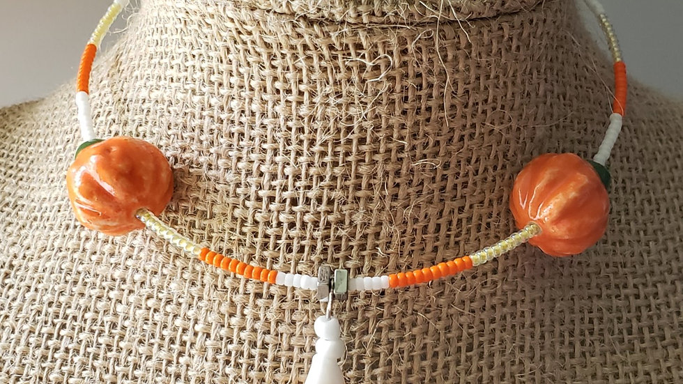 Pumpkins and Candy Corn Memory Wire Necklace