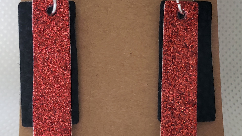 Faux Leather Black and Red Glitter Rectangle Earrings
